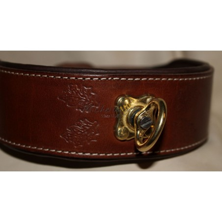 Leash and Collar in leather with pulley