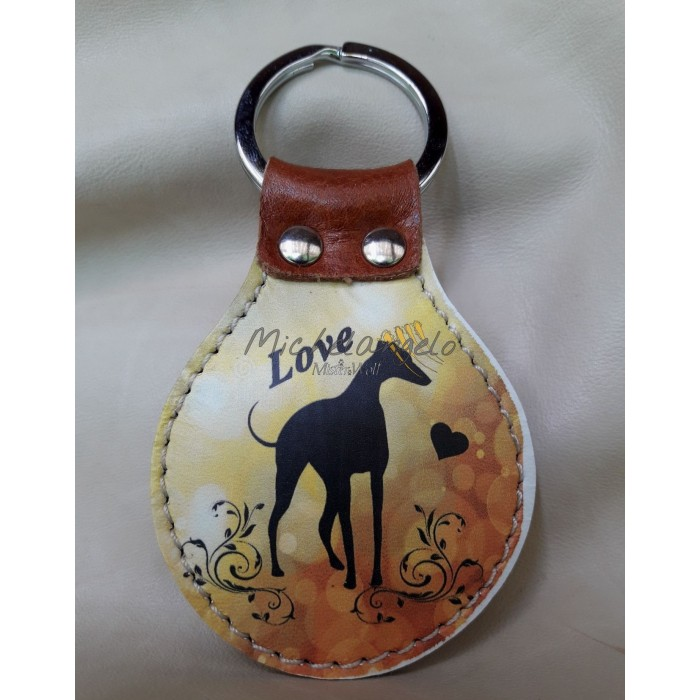 Greyhound leather keychain