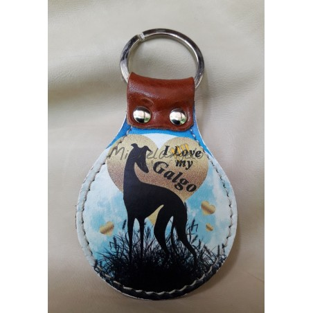Galgo leather keychain