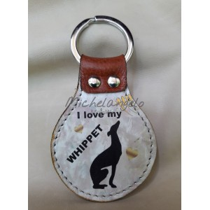 leather keychain  Whippet