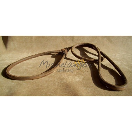 Round leather leash for dog show
