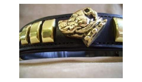 handcrafted leather collars for staffordshire bull terrier